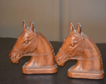 Horse Head Bookends, Syroco Compressed Wood