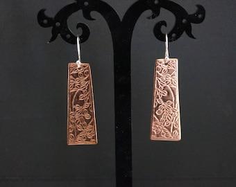 Sterling Silver Earrings with embossed Copper Dangle - Silver Drop Earrings - Handmade Dangle Earrings Boho Earrings - Mint & Vintage