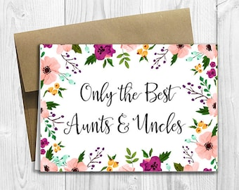PRINTED CUSTOM Only the Best Aunts & Uncles Get Promoted to Great Aunts/Uncles Pregnancy Announcement 5x7 Greeting Card - Watercolor Flowers