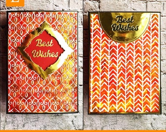 Best Wishes - textured rusty metallic looking designer card for a gentleman - modern and elegant design - hand painted embossed pattern
