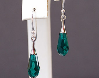Green Crystal Earrings - Swarovski Teardrop Earrings - May Birthday Gifts - Anniversary Gift for Wife - Mothers Day Gift