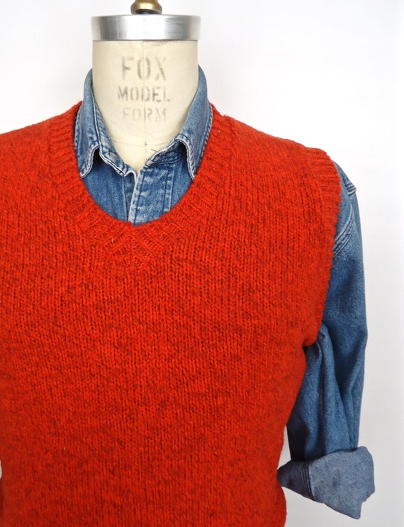 L.L.Bean Wool Sweater Vest / vintage orange-red V-neck / men's medium sK4hcd