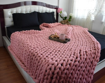Chunky knit blanket, Lap Blanket, Chunky knit throw, Chunky knit Mohair Blanket, Extraordinary gift, Chunky blanket,Cover Bedspread, Powder