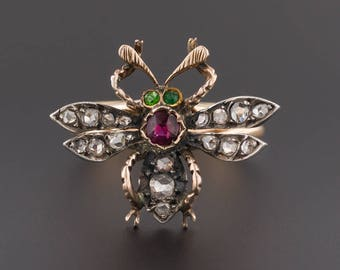 Antique Bee Ring | Antique Pin Conversion Ring | Antique Diamond Bug Ring | Diamond & Ruby Insect Ring | 14k Gold Bug Ring