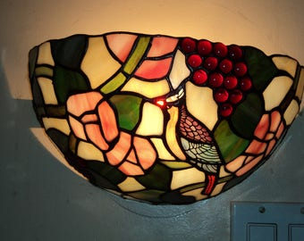 Vintage stained glass wall sconce light