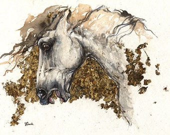 Andalusian horse, equine art, equestrian portrait,  original   gilded watercolor painting