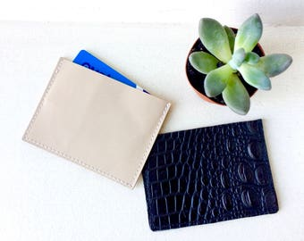 LEATHER Card wallet beige and croco black. Credit Card Case. Leather Wallet. Card Holder. Leather Business Card Holder