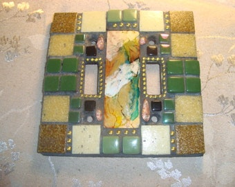 MOSAIC LIGHT SWITCH Plate, Double, Wall Art, Wall Plate, Home Decor, Green, Brown, Beige, Gold, Earth Tones