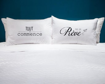 Duo of decorative pillow: everything starts with a dream