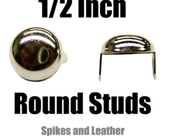 "Made in U.S.A. 100 pcs Dome Shaped Round Studs 1/2"" Nailhead 13mm Spot Tack Spikes Chrome/Silver Jackets Vests Sneakers Hats Caps DIY Spots"