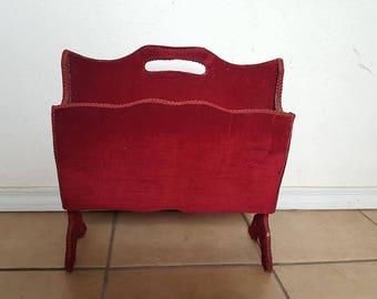 Vintage Red Magazine Holder