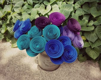 READY TO SHIP - Blue, Purple, Teal Paper Flower Bouquet - Mother's Day, Anniversaries, Wedding Bouquet