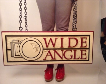 Vintage Salvaged Wide Angle Camera Sign