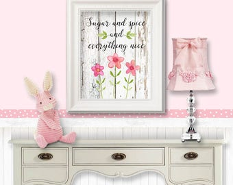 Sugar and Spice and Everything Nice - old white wood, pink flowers, nursery art, little girl room, HC  12