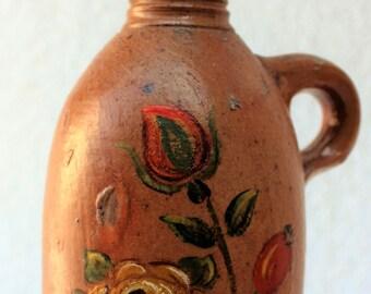 """Antique German Handpainted Stoneware Mineral Water Bottle """"Kraenches Wasser EMSER"""""""