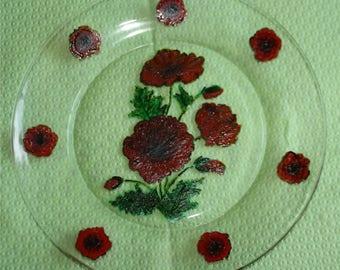 plate glass poppies pattern