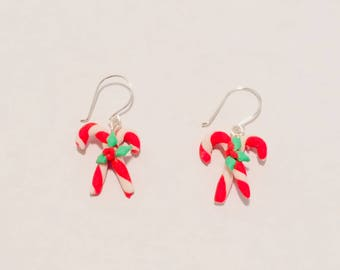 Cold Porcelain Candy Cane Earrings