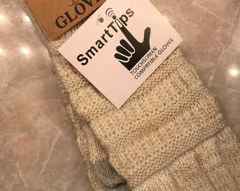 CC Exclusive Knit Tech Gloves White Cream Gold Sparkle Detail Touch Screen One Size Faux Suede