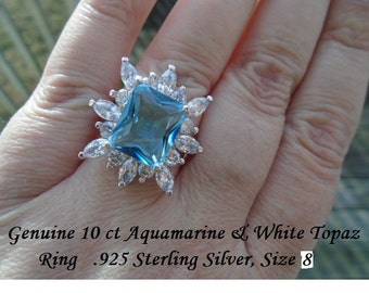 Genuine 10 ct Aquamarine & White Topaz Ring