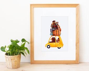 Bear Family Roadtrip Art Print