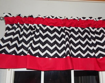 Black and white Wide Chevron valance with Red borders