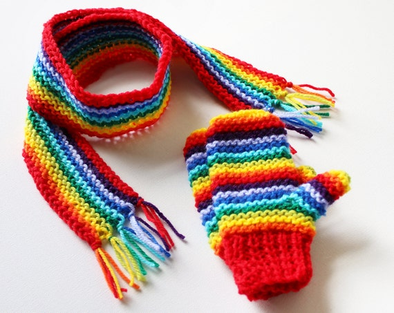 Red Rainbow Pixie Set of Mittens and Scarf - Rainbow Children's Winter Outfit - Classic Scarf and Mittens for Kids