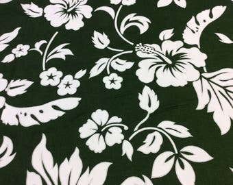 Forest  Green and White Hawaiian Print (Yardage Available)
