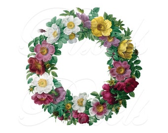 ROSES wreath floral frame digital image wedding clipart Les Roses Redoute botanical illustration no.357