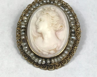 Art Nouveau Cameo with Seed Pearls Brooch Pendant