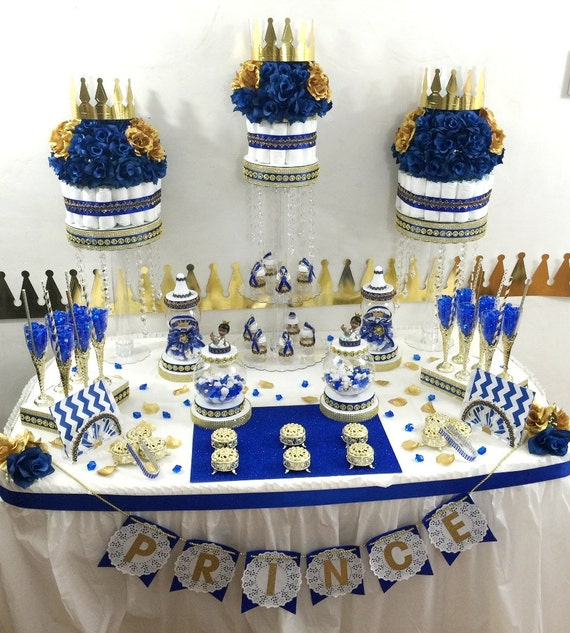 Royal Prince Baby Shower Candy Buffet Diaper Cake Centerpiece With Baby  Shower Favors / Boys ROYAL BLUE And GOLD Prince Theme Decorations
