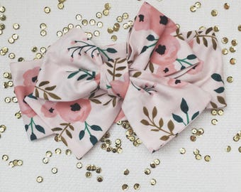 Head Wrap - Headband - Hair Wrap - One Size -  Newborn-Toddler-Child-Adult - Blush Pink Floral