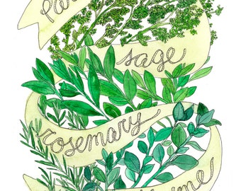 "Parsley Sage Rosemary & Thyme / Simon and Garfunkel, ""Scarborough Fair"" / Herb Illustrated Watercolor Art Print"