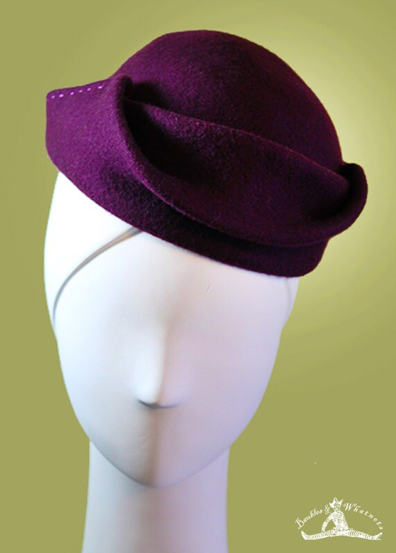 Purple Wool Women's Hat - Dark Plum Wool Hat - Dark Purple - Sculpted Women's Boho Wool Hat - Vintage Inspired - 1940s Hat - OOAK