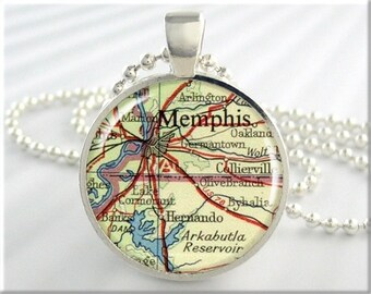 Memphis Map Pendant, Resin Charm, Memphis Tennessee Vintage Map Necklace, Picture Pendant, Gift Under 20, Round Silver Pendant 536RS