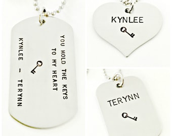 Personalized Dog Tags - You Hold the Keys to My Heart Father Daughter Son Necklace Set - Custom Dog Tags - Stainless Steel Jewelry Gift Set