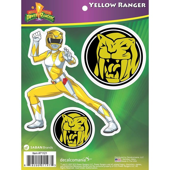 Mighty Morphin Power Rangers Yellow Ranger Stickers Decals for
