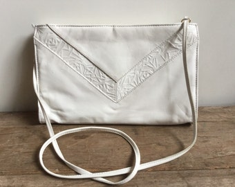 White Geometric Leather Purse