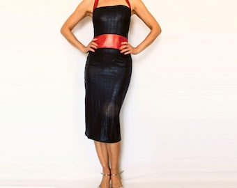 Black Red Halter Dress