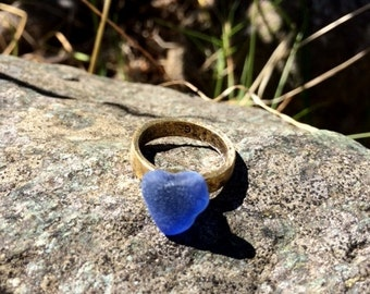 Genuine Sea Glass Ring, Blue Sea Glass Ring, Natural Heart Ring, Size 6