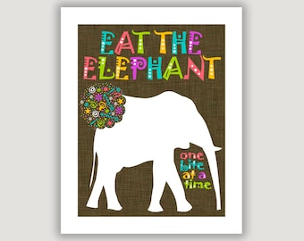 Eat The Elephant, One Bite At A Time, dorm wall art, dorm decor, office art, classroom wall art, team quote, encouragement, boss gift
