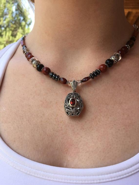 Grounding and Centering, Garnet Locket Silver pendant, Root (1st) Chakra balancing, Metaphysical Yoga Sedona & Reiki Jewelry, Power necklace