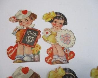 Vintage Childrens Valentine Day Cards Lot-Ephemera-Mixed Media-Paper-Crafts-Scrap Booking-Victorian-1930's-Set of 8-UNUSED