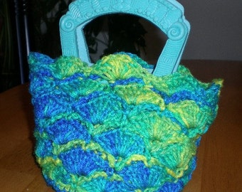 Handbag, Purse, Teal, Crochet, Accessories, Women, Girls, Mini Bag