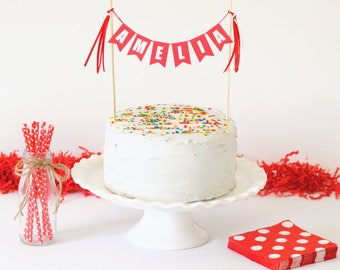 Personalized Name Cake Topper - Birthday Cake Topper Banner - Custom Cake Topper - Red & White Birthday Cake Bunting - Banner Cake Topper