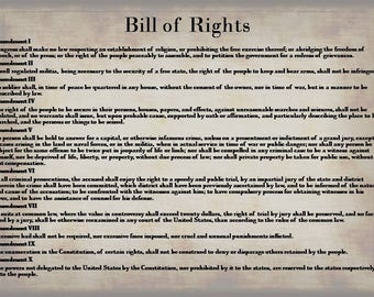 Bill of Rights Instant Digital Download, Constitution Print, Bill of Rights Wall Art, Unalienable Rights Downloadable Image, Ammendments