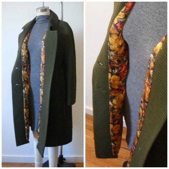 Vintage Coat / 1950s or 1960s Coat / Cocoon Style Coat / Knee Length Coat / Oversized Coat/ Boxy Coat / New Lining / Texture Vintage Coat