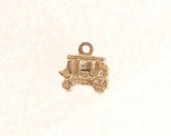 Vintage Tiny Gold Carriage Charm Pendant Cinderella Princess Carriage