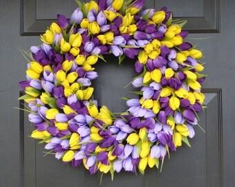 SUMMER WREATH SALE Tulips Spring Wreath- Spring Decor-Spring Tulips Wreath, Custom Colors and Sizes, Door Wreath, Purple Wreath- The Origina