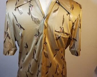 FREE  SHIPPING  1970 Abstract Men Nylon Shirt