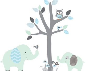 nursery Jungle Decal, elephant Wall Decal, giraffe decal, Nursery Wall Decal, Friendship Falls XXL Branch Tree Set - Mint & Blue Scene
